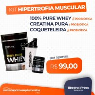 Kit 100% 825g + Creatina pura 100g + Coqueteleira 700ml